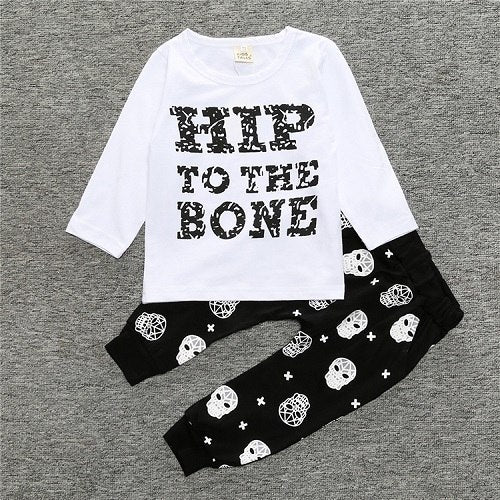 2018 New Fashion baby boy girl clothing set cotton letter long-sleeved T-shirt + Striped Pants Baby Clothing Set SY106 - flybabywear