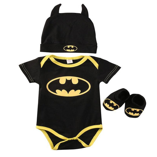 Cute Summer Autumn Batman Cotton Boys Rompers Printed Batman Baby Boys Clothes Rompers with Shoes Hat Black 0-24 Months - flybabywear
