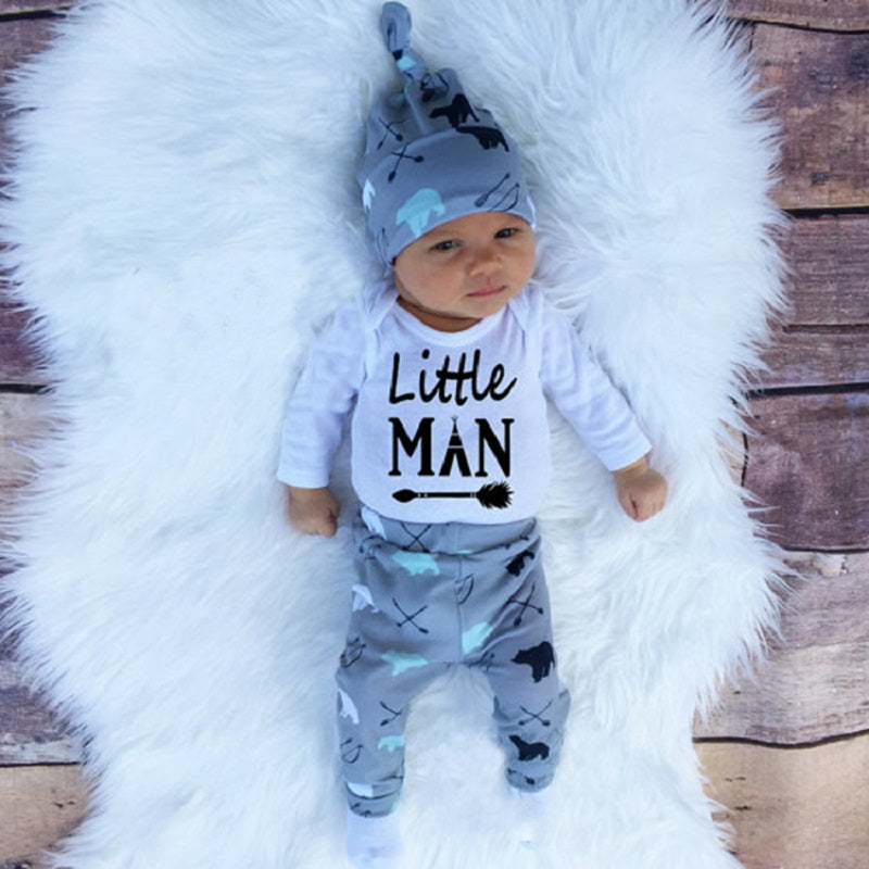 2018 Autumn new baby boy clothes set cotton long-sleeved Romper + trousers  + hat ... 09d448b5af5b