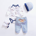 2018 cartoon animal baby Clothing Sets cotton baby boy clothes Newborn girl suit 4pcs long sleeve infant rompers+pants+socks+hat - flybabywear