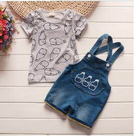 Baby boys clothing sets baby summer  products   bebe cotton tops + bib shorts 2 pcs suit infants for baby clothing - flybabywear