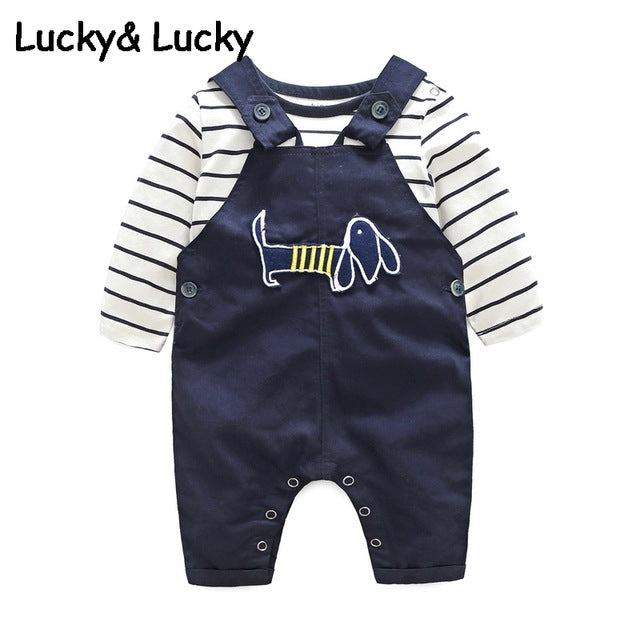 Bebes newborn clothes cotton letter printed t-shirt with demin overalls baby boys clothes summer children clothing - flybabywear