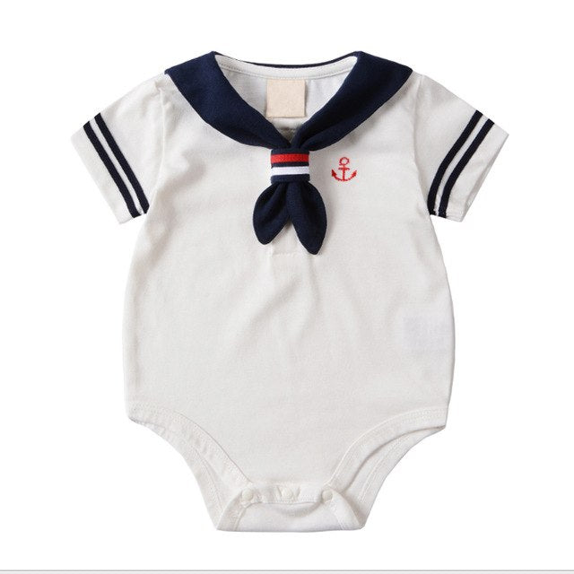 Summer Baby Rompers Cotton Baby Girl Clothes White Navy Style Baby Boy Clothes Newborn Baby Clothes Roupas Bebe Infant Jumpsuits - flybabywear