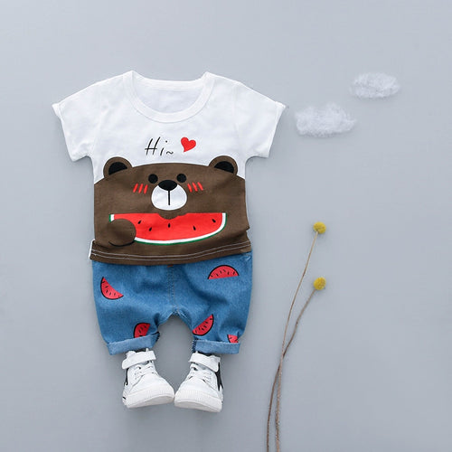 Cartoon Baby Boy Clothing Set Summer 2018 New Style Infant Clothes Baby Girls Clothing Cotton Short Sleeve Baby Boy Clothes - flybabywear
