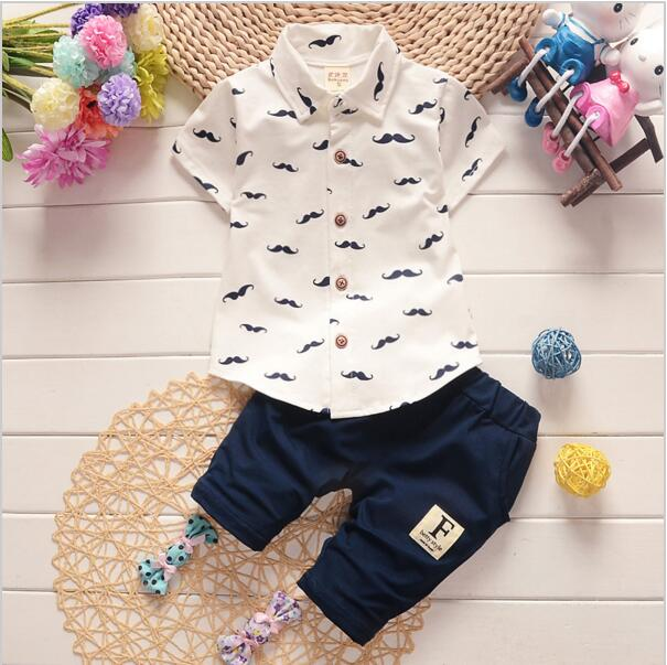 Summer Baby Boy Girl Clothes Shirt Pants 2Pcs/Sets Gentleman Style Kid Lovely Beard Lapel Infant Casual Suits Children Tracksuit - flybabywear