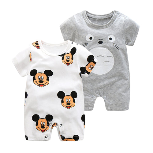 2018 Summer New Style Short Sleeved Girls Dress Baby Romper Cotton Newborn Body Suit Baby Pajama Boys Animal Monkey Rompers - flybabywear