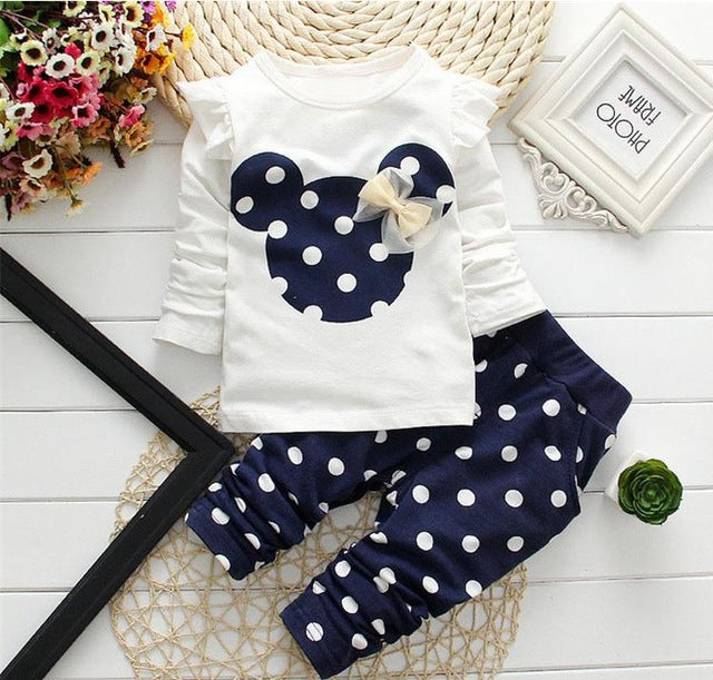 LILIGIRL Baby Girls Sport Clothes Sets for Toddler Cotton Print Mickey T-Shirt+Polka Dot Pants Suit Kids Tops Trousers Cloting - flybabywear