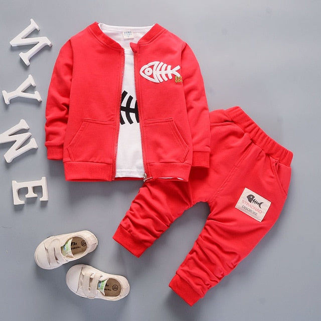 Bibicola baby boys clothing set toddler bebe coat jacket+ T shirt+pants 3 pcs newborn sport suit infant boys clothes set - flybabywear