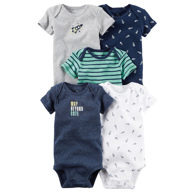 5 piece 2018 Baby Jumpsuit Boys Girls Summer Jumpsuit Short Sleeve Cotton Baby Comfort Clothing Set - flybabywear
