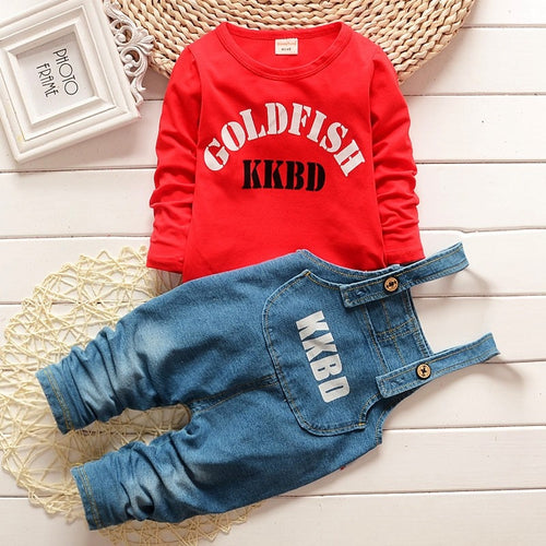 baby boys clothing set autumn fashion style infant tracksuit clothes letter t-shirt+bib denim pants bebe sport suit - flybabywear