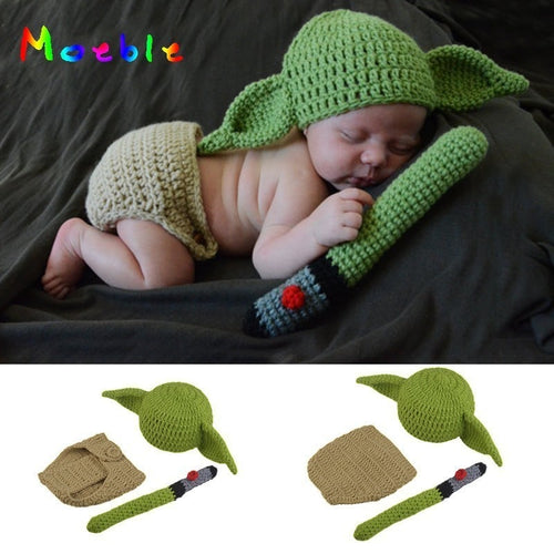 Latest Yoda Style Newborn Photography Baby Hat Crochet Clothing Set Knitted Infant Boys Photo Fotografia Props Cartoon Costume