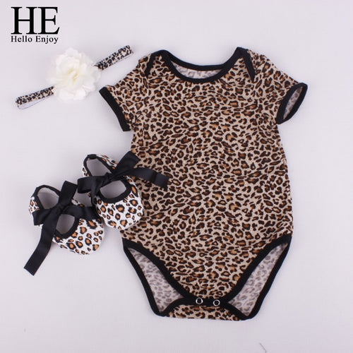 HE Hello Enjoy Baby girl clothes sets newborn short Leopard grain baby bodysuit  (Short sleeve romper + hair band+ shoes) - flybabywear