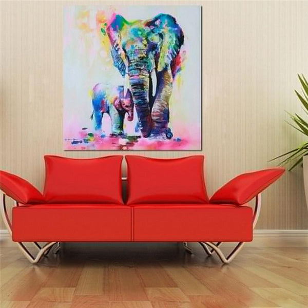 Elephant Mother and Kid Canvas - Mega Elephant