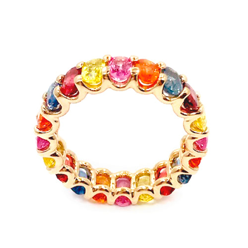 Albert Hern Multi Color Sapphire Eternity Ring Yellow Solid 18kt Gold
