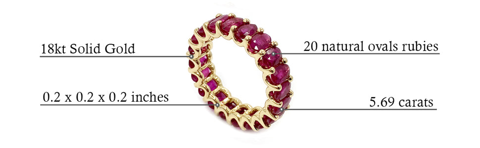 Albert Hern Ruby Eternity Ring 18kt Yellow White Gold Graphic Description Details