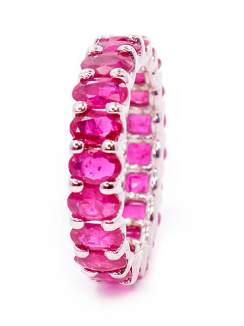 Albert Hern Natural Pink Ruby Eternity Ring 18kt Gold