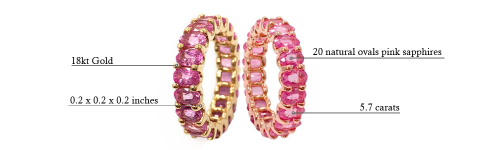 Albert Hern Pink Sapphire Eternity Ring 18kt Graphic Description Details