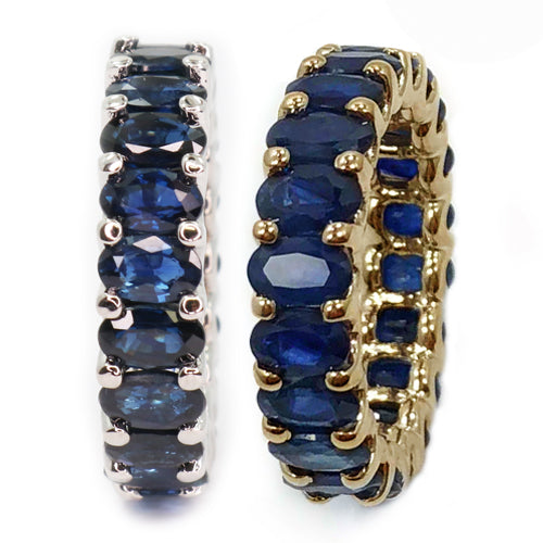 Albert Hern Blue Sapphire Eternity Ring Yellow White Solid 18kt Gold