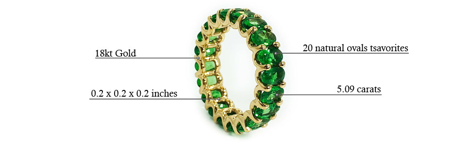 Albert Hern Tsavorite Garnet Eternity Ring 18kt Yellow White Gold Graphic Description Details