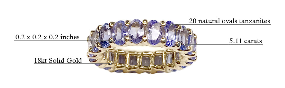 Albert Hern Tanzanite Eternity Ring 18kt Yellow White Gold Graphic Description Details