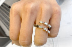 Ring White Gold with Emerald Cuts & Black Diamonds  - Albert Hern US Fine Jewelry