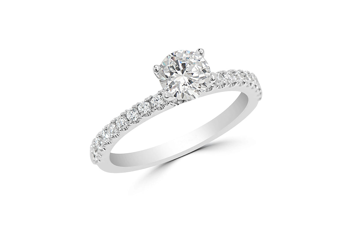 Ring 18kt White Gold Solitaire and Elevated Diamonds