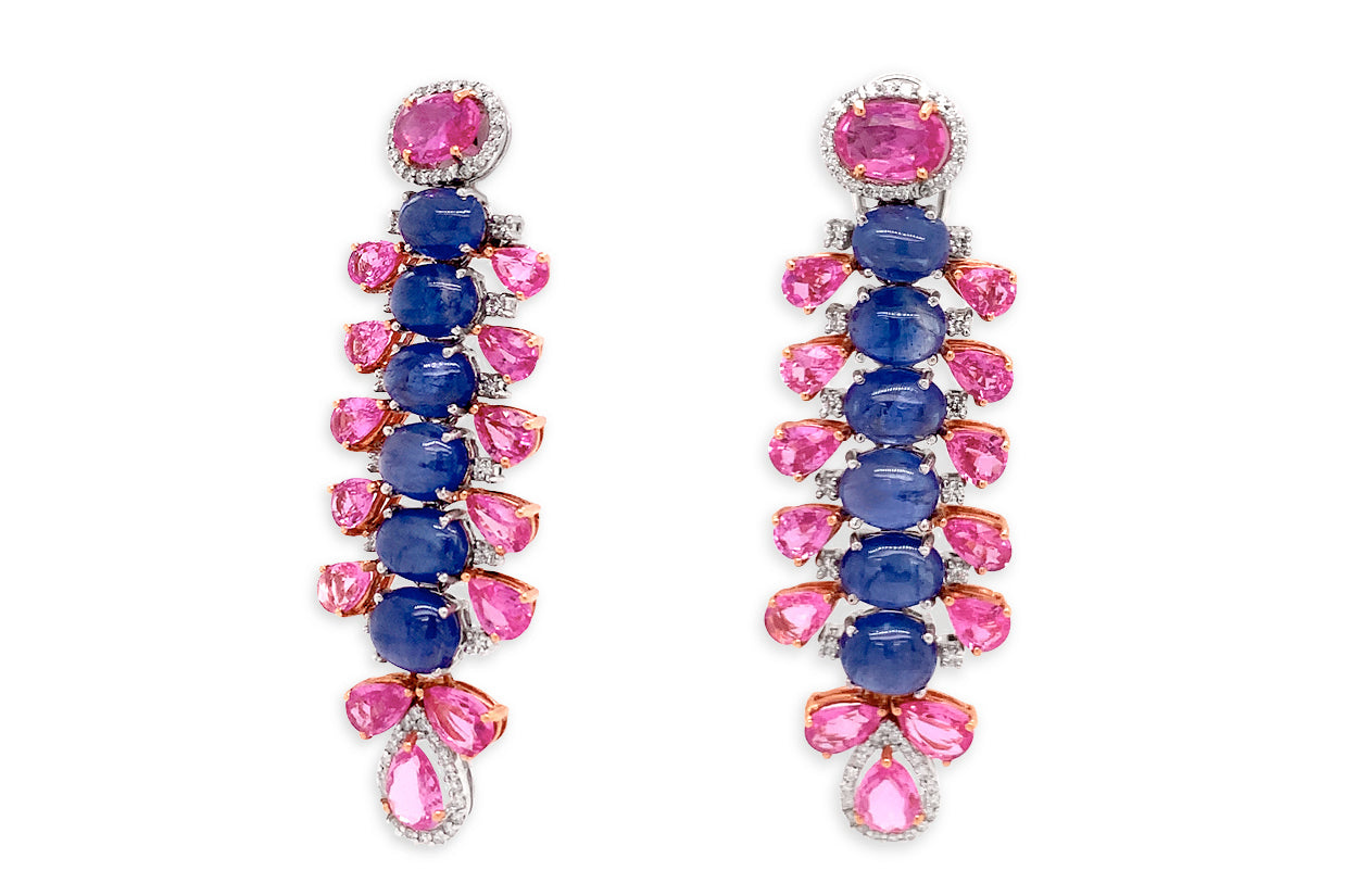 Earrings 18kt Gold Dangle Sapphires & Diamonds