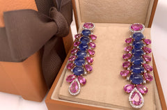 Earrings 18kt Gold Dangle Sapphires & Diamonds  - Albert Hern US Fine Jewelry
