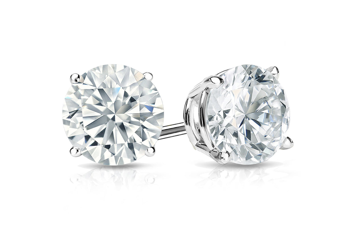 Earrings 1.4cts GIA Certified Natural Round Diamond Platinum Stud J Color VS2 Clarity | Albert Hern Fine Jewelry
