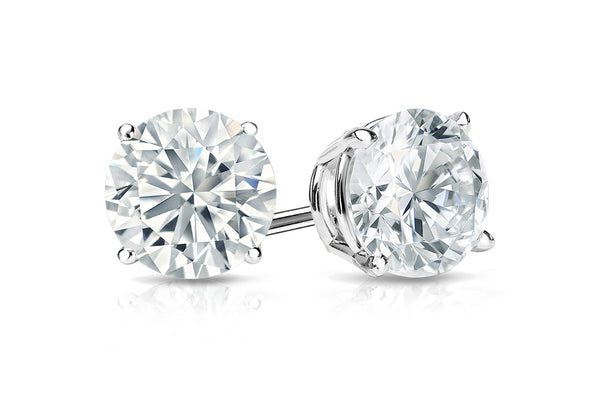 Earrings 0.8cts GIA Certified Natural Round Diamond 18kt Gold Stud G Color VS1 & VVS2 Clarity | Albert Hern