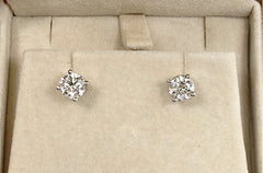 Earrings 1.4cts GIA Certified Natural Round Diamond Platinum Stud J Color VS2 Clarity  - Albert Hern US Fine Jewelry