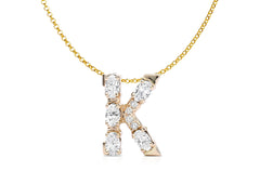 Pendant Letter Initial 18kt Gold Winter Collection  - Albert Hern US Fine Jewelry