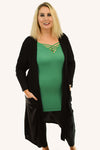 Open Front Side Pocket Duster Cardigan | Black