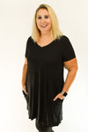 Premium Basic V Neck Tunic Straight Hem | Curvy Black