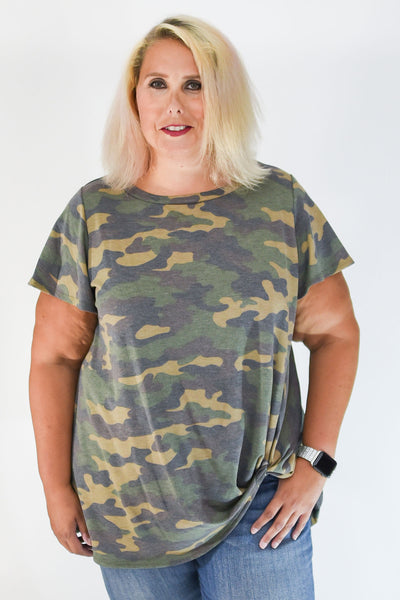Taupe & Black Camo Side Knot Tunic Top with Flutter Sleeve Detail | Apple Valley, MN | Fashion Freak LLC