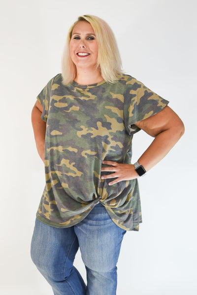 Taupe & Black Camo Side Knot Tunic Top with Flutter Sleeve Detail | Rosemount, MN | Fashion Freak LLC