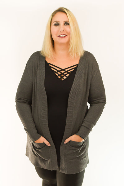 Open Front Cardigan with Pockets | Charcoal