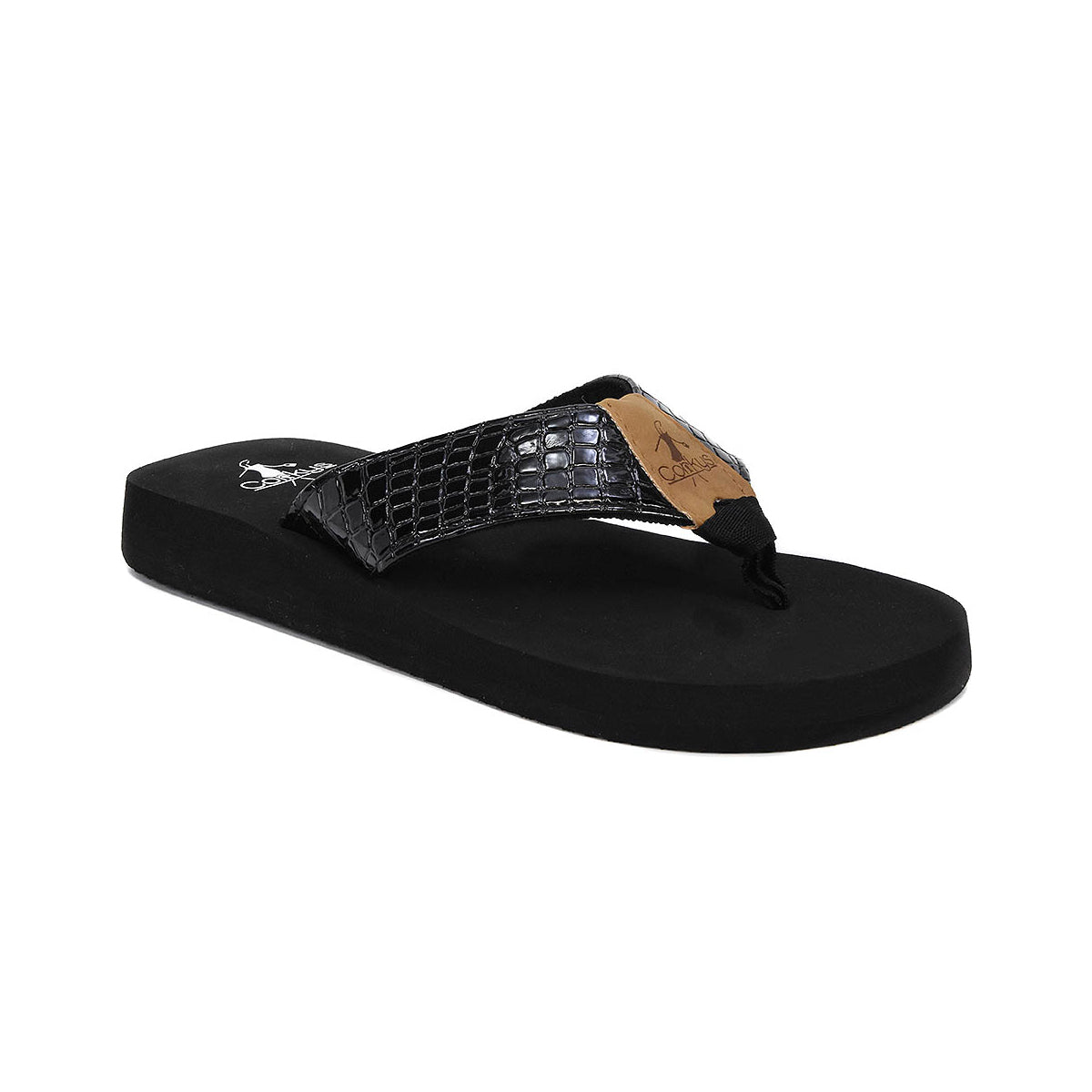 2d30bfffd18c44 Corkys Royal Black Faux Snake Skin Flip Flops - Fashion Freak LLC