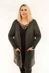 Relaxed Open Front Cardigan Thigh Length | Dark Grey