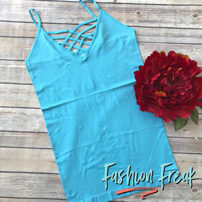 Seamless Caged Cami | Baby Blue | Fashion Freak LLC