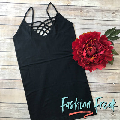 Seamless Caged Cami | Black | Fashion Freak LLC