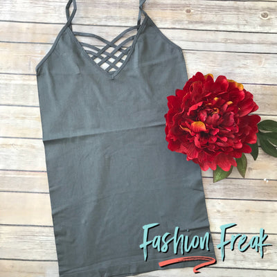 Seamless Caged Cami | Dark Grey | Fashion Freak LLC