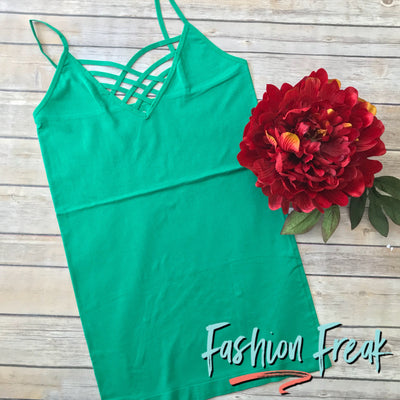 Seamless Caged Cami | Kelly Green | Fashion Freak LLC