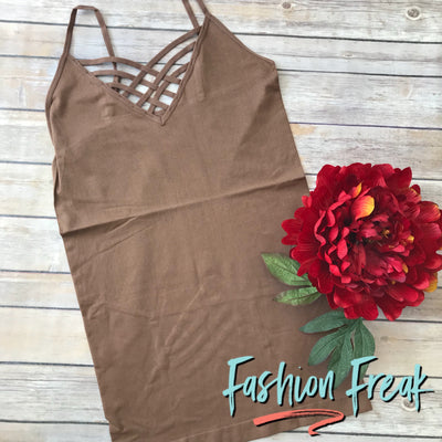 Seamless Caged Cami | Mocha Brown | Fashion Freak LLC