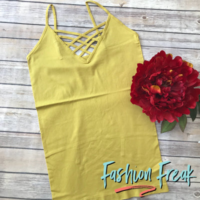 Seamless Caged Cami | Mustard | Fashion Freak LLC