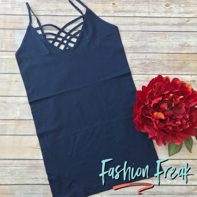 Seamless Caged Cami | Navy | Fashion Freak LLC