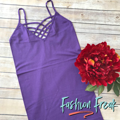 Seamless Caged Cami | Purple | Fashion Freak LLC