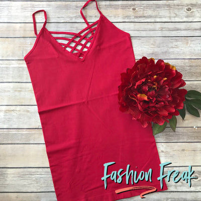 Seamless Caged Cami | Red | Fashion Freak LLC