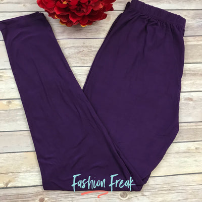 Basic Solid Color Leggings | Elastic Waistband | Purple | Fashion Freak