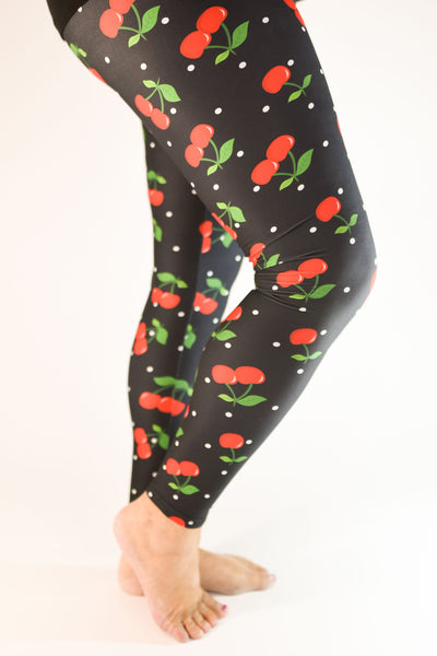 Classic Polka Dots with a twist, Cherry on Top Leggings with Yoga Waistbands for ultimate comfort | Fashion Freak LLC Exclusives